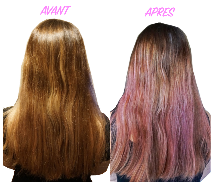 Coloration Cheveux Chatain Rose Gold Coupe Mi Long